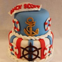 Ahoy Scott Going away cake for a young man entering the NavyVanilla cake with strawberry filling decorated in fondant and gumpaste (my first attempt...