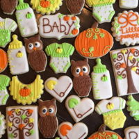 Autumn Baby Shower Cookies Decorated sugar cookies for an October baby shower