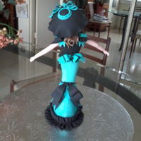 Bob Mackie Inspired Barbie Made Out Of Satin Ice Gum Paste   Back view