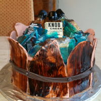 Bourbon Barrel Cake Marble cake, butter cream, sugar ice, barrel make out of fondant