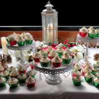 Christmas Cupcakes American buttercream with fondant decoration on a variety of cake flavors