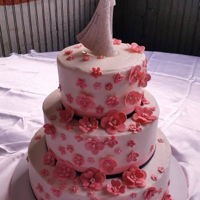 Lovely Wedding Cake   pink & navy blue
