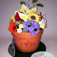 Flower Pot Cake   Flower pot is all cake covered in modeling chocolate. Gum paste flowers.