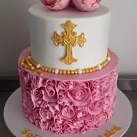 Frilled Christening Cake Chocolate mudcake. Fondant frills with fondant cross and flowers