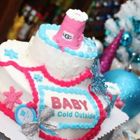 Gender Reveal Vanilla flavored cake with buttercream icing, fondant accents, rice krispy treats edible image prints and non-edible decorations