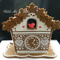 Gingerbread Cuckoo House   Gingerbread House piped with white royal icing
