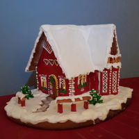 Gingerbread House My gingerbread house colored with gelatine and red edible color
