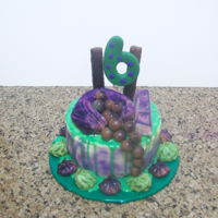 Green & Purple Drip Cake   chocolate cake covered in white ganache