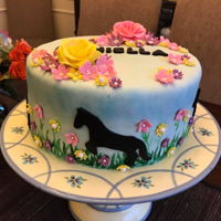 Horse Themed Cake   Colorful, flowery, horse themed cake for a girl who loves horses.