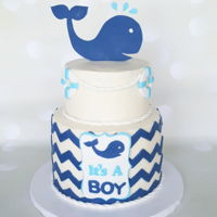 It's A Boy Whale themed boy baby shower cake