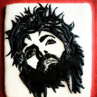 Jesus Cookie Jesus sugar cookie decorated with royal icing.