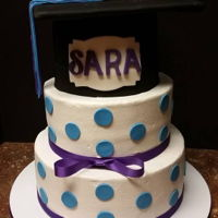 Sara Graduation From College!! This cake was perfectly straight when I finished it on a Friday night. I woke up Saturday Morning & it had totally shifted & was...