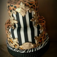 Leopard Print Birthday Cake Hand painted leopard print on buttercream. Fondant stripes and gold decor.