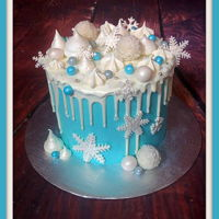 Let It Snow drip cake, ganache, meringue, fondant,