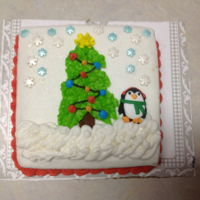 Mini Cake, Holiday   Mini 6 inch square Holiday cakes. Thank you CCers for the ideas. Buttercream, penguin and snowman are premade icing candies