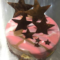 Mirror Glaze Cake This is caramelizer apple yuzu mousse cake n handmade chocolate decorations