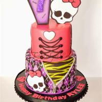Monster High Cake topper is made of fondant. The cake was designed by the birthday girl.