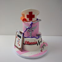 Nurse Cake   a fun two tiered cake for a recent nursing school graduate
