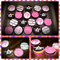 Pink Floyd Cupcakes Pink Floyd cupcakes for a sweet sixteen. Pig, Wall, Prism, and Logo representing the band. also pink cupcakes liners splattered with white...