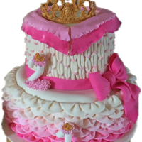 Princess Cake Combined 1st and 2nd birthday cake for my great-nieces. GUmpaste tiara, numbers are gumpaste with a candle inserted in each.