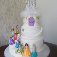 Princess Castle   Princesses and topper were purchased by client. All other custom fit/made and edible. :)