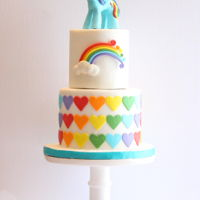 Rainbow Dash Cake Here is a little cake I made for my niece. The Rainbow Dash topper is made out of modelling chocolate with the help of the Artisan Cake...