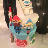 Rudolph Cake For 1St Birthday   Fondant topsy turvy cake with figures from