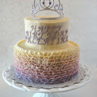 Ruffled Princess Cake Six and Nine inch rounds in buttercream with souvenir crown on top.