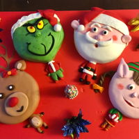 Santa, Elf, Rudolph And Grinch Cakes! Two were vanilla cakes and two were carrot cakes