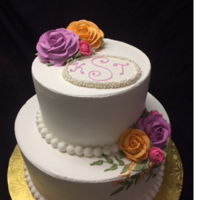Simple Wedding Cake Buttercream cake with buttercream roses.