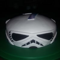 Storm Trooper Cake An 8 inch storm trooper cake decorated with fondant die cuts with a galaxy number 7 on top for the birthday boy to match the galaxy effect...
