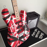 Van Halen Guitar Cake Guitar is chocolate mud cake and the amp is foam covered in fondant