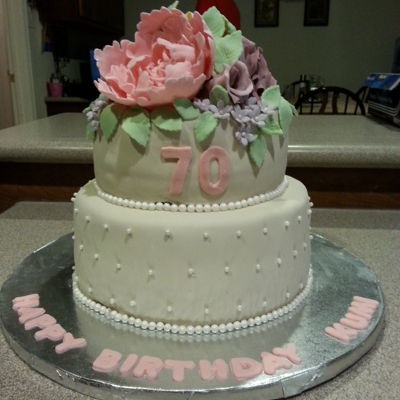 70Th Birthday Cake   Flowers, Pastel shades