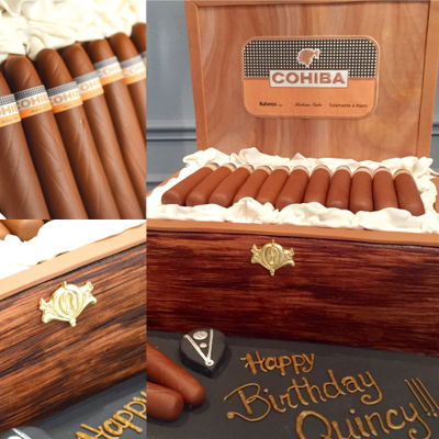 Cigar Cake   This cake was fun to make! All edible except the board standing up!