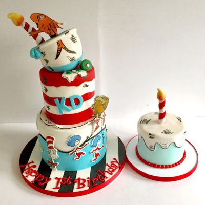 "Dr Suess/ Cat In The Hat Cake And Matching Smash Cake   Cake 7""bottom, 5""middle tier 5""hemi cakes. Characters are edible images"