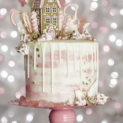 Pink Gingerbread Drip Cake  My Pink Gingerbread Dream House Drip Cake. Gingerbread cake, whipped white chocolate ganache filling, water color buttercream and white...