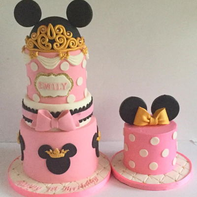 Princess Minnie Cake And Matching Smash Cake   7'x5, 6x2,5x5 tiers. minnie head is styrofoam,