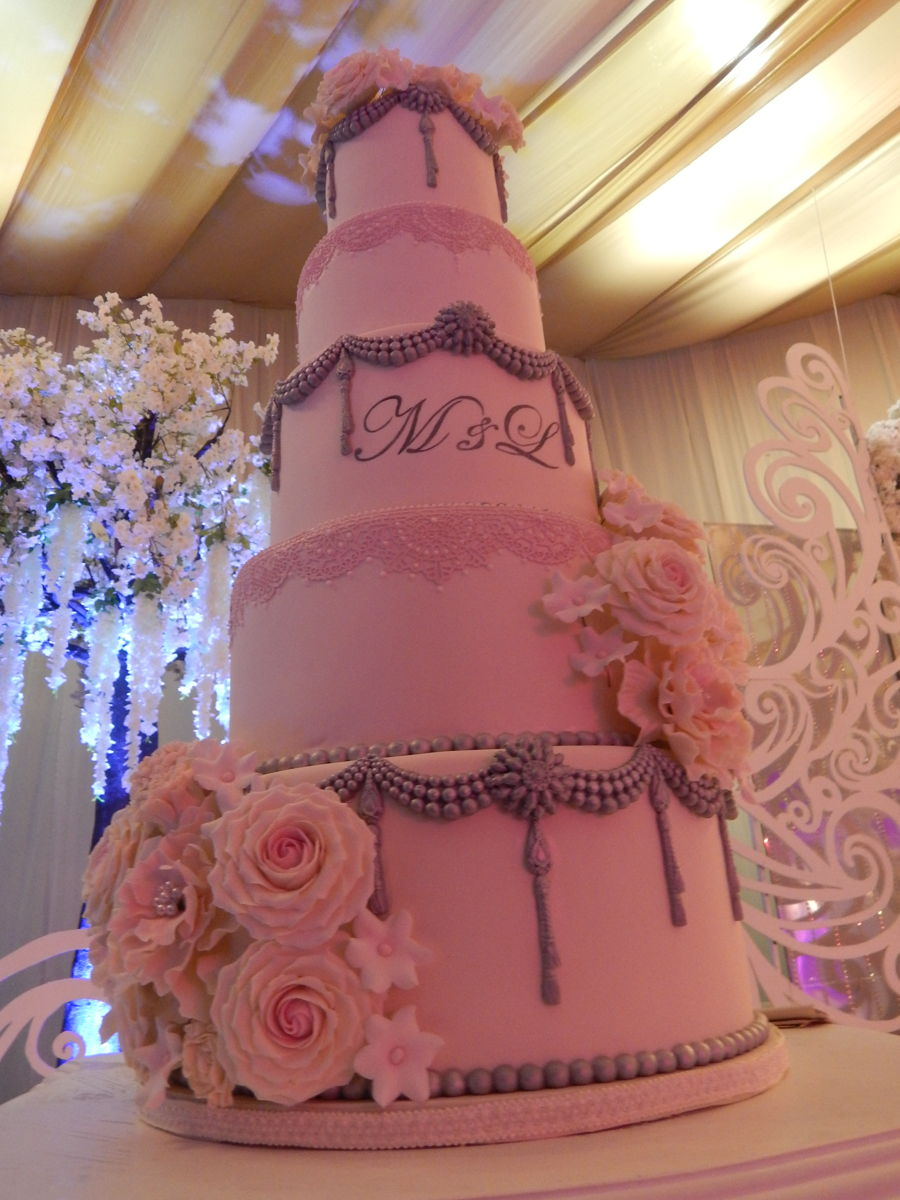 blush pink and silver wedding cake blush pink cakecentral 12049