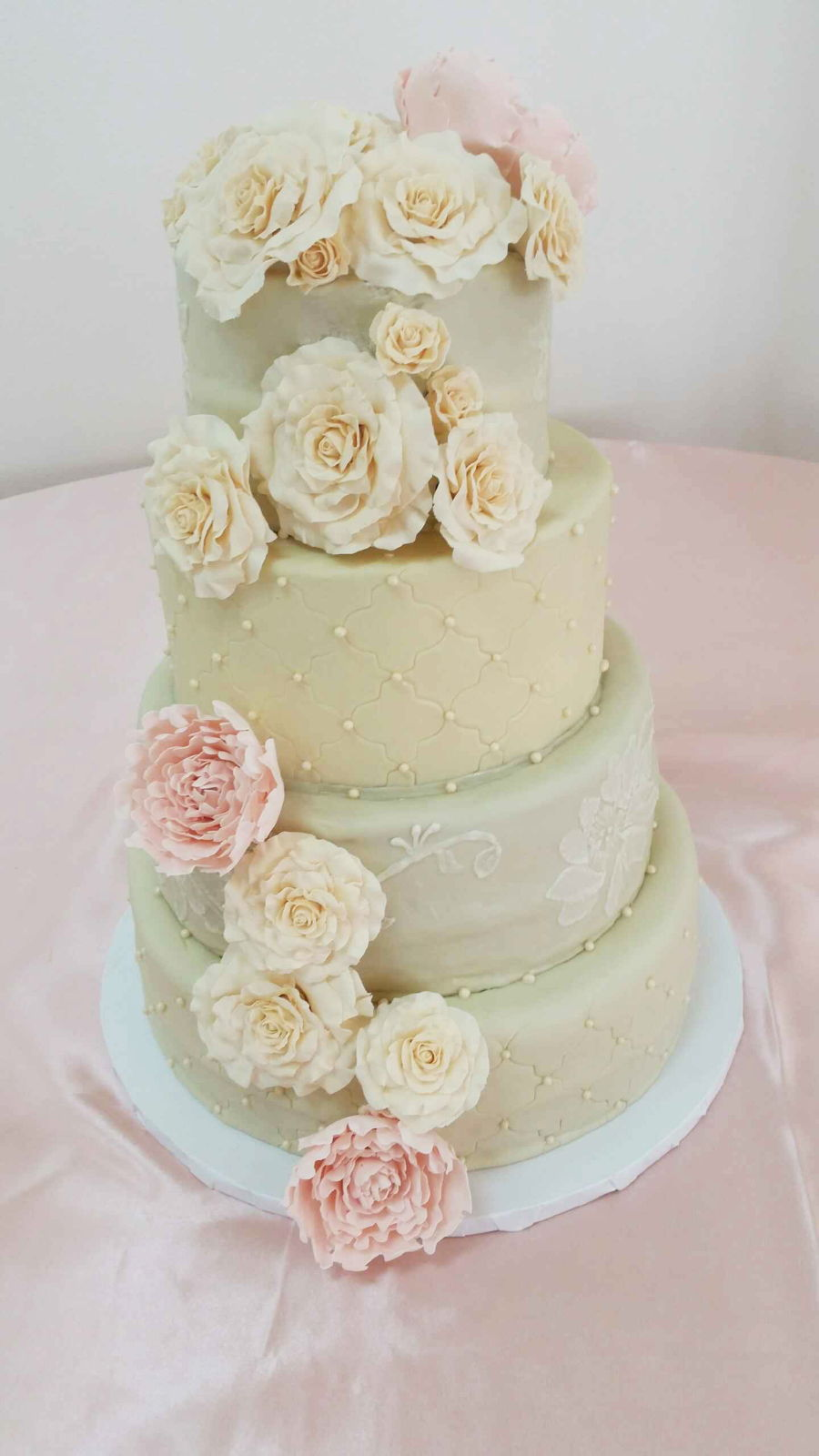 ivory and blush pink wedding cakes champagne blush amp ivory wedding cakecentral 16535
