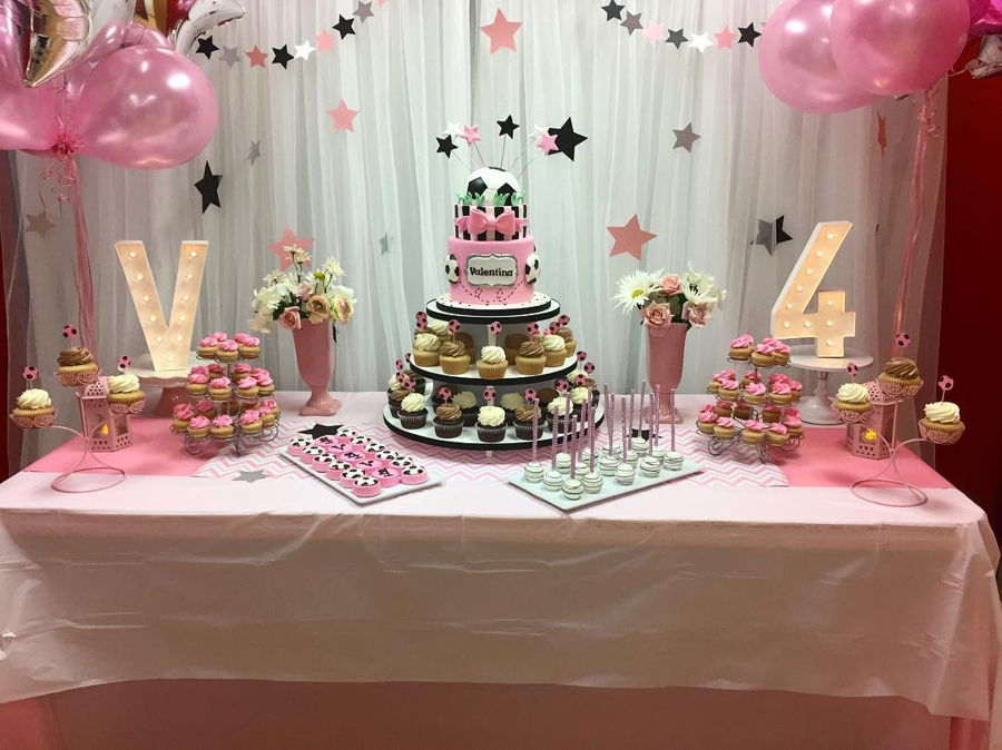 Girly Glam Soccer Sweet Table Cakecentral Com