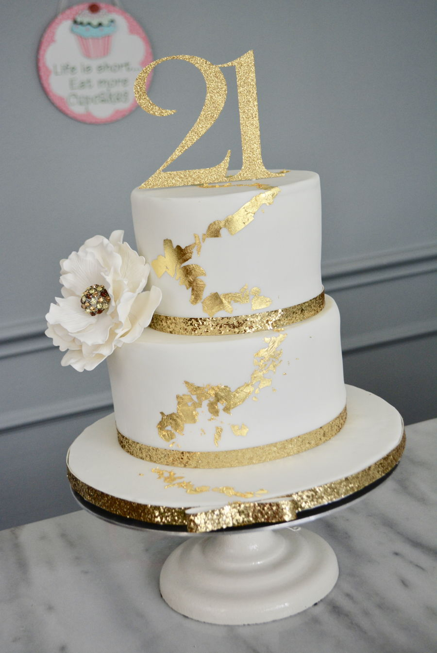 Gold Leaves Cake Decoration : Gold Leaf Cake - CakeCentral.com