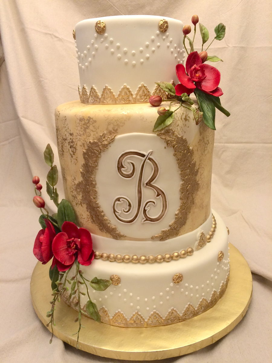 Red Orchid Wedding Cake Cakecentral Com