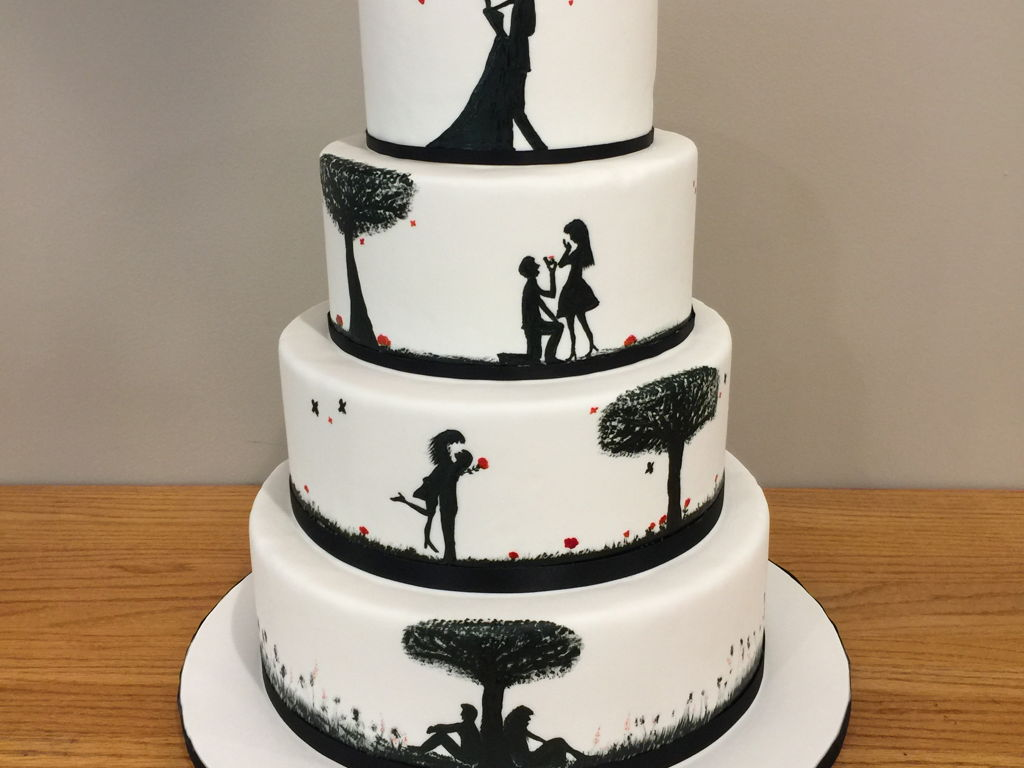 Painted Silhouette Love Story Cakecentral Com
