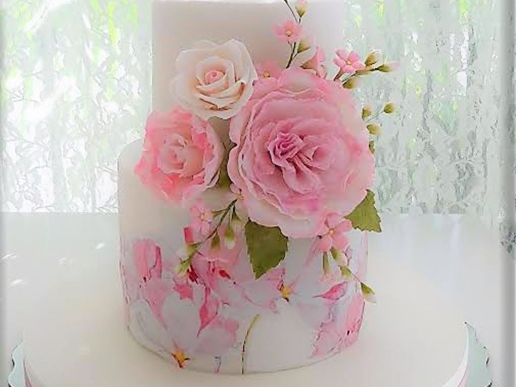 Pink Cake With Flowers For A Baby Girl Cakecentral