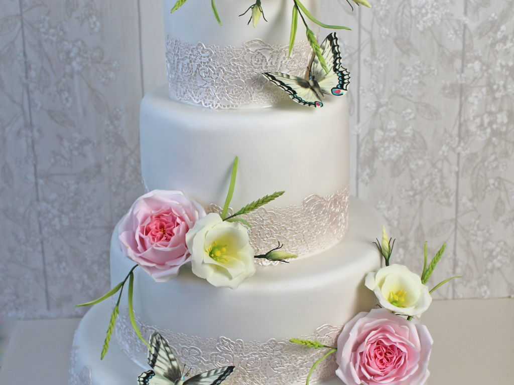 Wedding Cake With Butterflies - CakeCentral.com