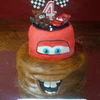 4Th Birthday Cake - Mater And Lightning! MMF covered 4th birthday cake - Mater and Lightning McQueen