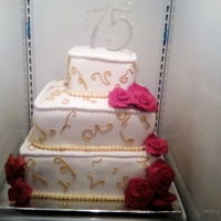 75Th Birthday  Bottom tier is vanilla cake with vanilla filling; center tier is marble with chocolate mousse filling and top tier is strawberry cake with...
