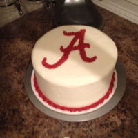 "Alabama Crimson Tide Cake This is a red velvet cake with cream cheese icing and Alabama ""A""."