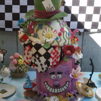 Alice In Wonderland A Topsy Turvy Fondant covered and gumpaste figurines. For a Themed 40th Birthday! Each layer is a different flavor. Checkerboard dark &amp...