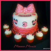 Another Minnie Mouse Cake White cake with vanilla buttercream frosting and vanilla fondant with pink fondant ruffles.